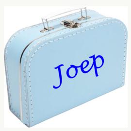 Kinderkoffertje met naam licht blauw