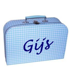 Kinderkoffertje met naam blauw ruit