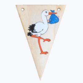 Naamslinger houten vlag ooievaar