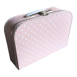 Kinderkoffertje Roze witte stip