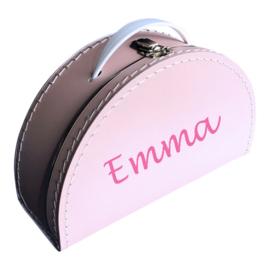 Kinderkoffertje met naam roze halfrond