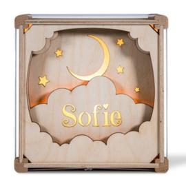 Houten Nachtlamp In de wolken met naam