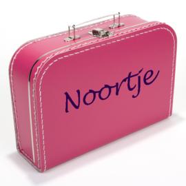 Kinderkoffertje met naam fuchsia roze