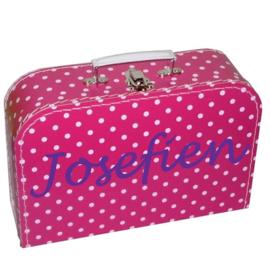 Kinderkoffertje met naam fuchsia roze witte stip