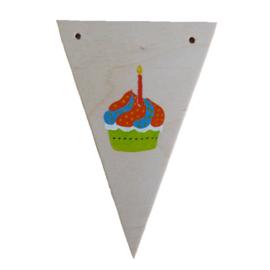 Naamslinger houten vlag taartje