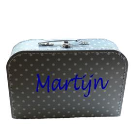 Kinderkoffertje met naam zilver witte stip