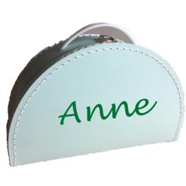 Kinderkoffertje met naam mint groen halfrond