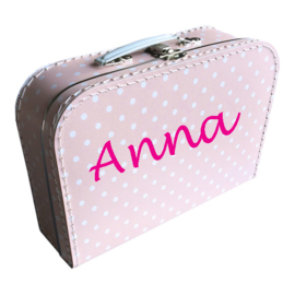 Kinderkoffertje met naam roze witte stip