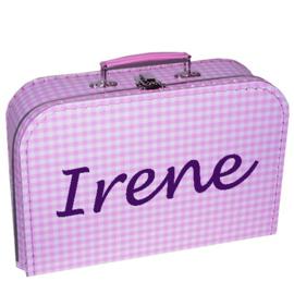 Kinderkoffertje met naam roze ruit