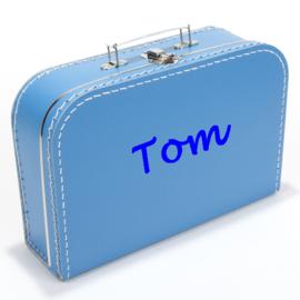 Kinderkoffertje met naam aquablauw