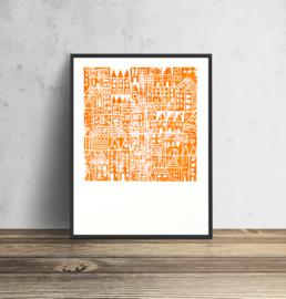 Concrete Jungle - oranje | 30 x 40 cm - per 3 stuks