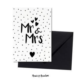 Wenskaarten 'Mr & Mrs' - per 5 stuks