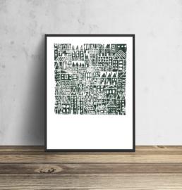 Concrete Jungle - groen | 30 x 40 cm - per 3 stuks