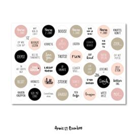 Stickervel 'Kind 1-4 jaar roze' - per 5 stuks