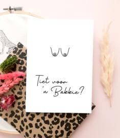 Wenskaarten + envelop 'Tiet voor een bakkie' - per 5 stuks