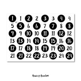 Stickervel 'Cijfers 1 t/m 24 (advent)' - per 5 stuks