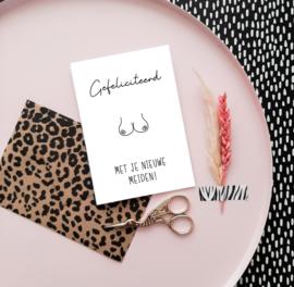 Wenskaarten + envelop 'Gefeliciteerd met je nieuwe meiden' - per 5 stuks