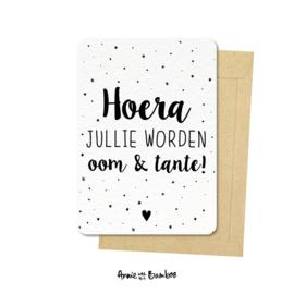 Ansichtkaarten 'Hoera jullie worden oom & tante!' - per 5 stuks