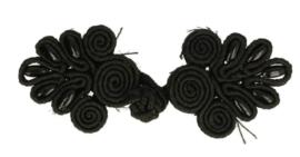 Chinese knoop blad met parel zwart