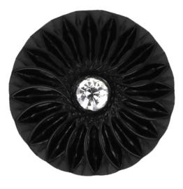 Knoop zwart 30mm met strassteen