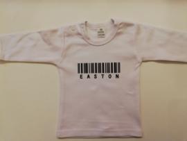 Baby longsleeve naam met streepjescode