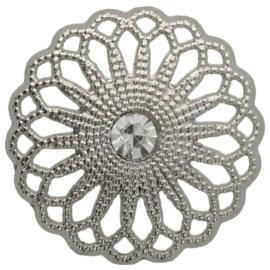 Knoop bloem 25mm opengewerkt met strass zilver