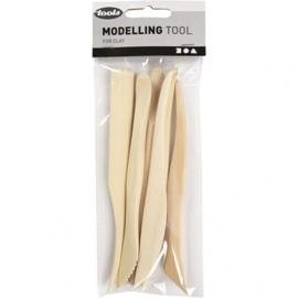 Modeleer gereedschap hout (6 stuks)