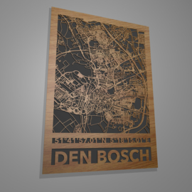 Stratenkaart met mat zwart of blank houten achtergrond