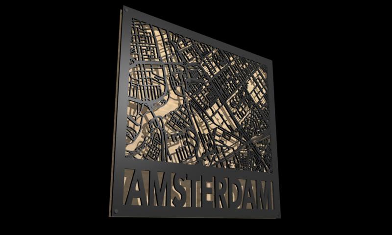 Stadskaart laser gesneden 70 X 50 CM