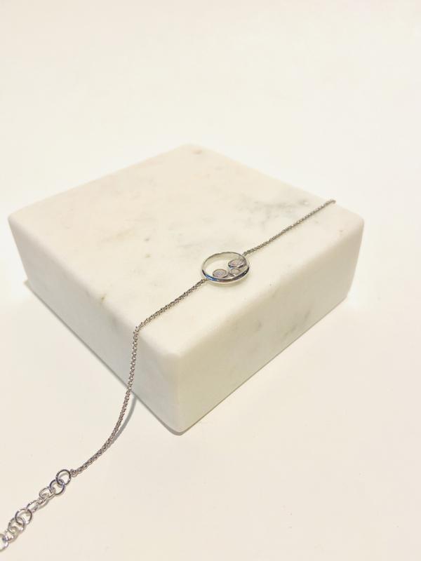 Zilver 3 steentjes