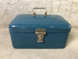 Emaille koektrommel petrol blauw