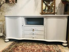 Brocante dressoir art nouveau lichtblauw mat, tv meubel