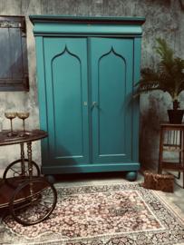 Vintage antiek meidenkast, kast, groen, boho style.