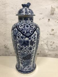Delfts blauw pot, vaas met deksel.