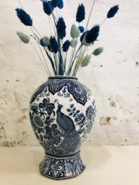 Vintage vaas met pauwen société ceéramique maestricht Delfts