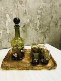 Vintage drink set, karaf met 6 glazen van groen glas.