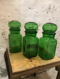Vintage voorraadpotten groen glas