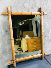 Franse vintage bamboe spiegel.