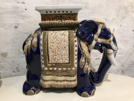 Vintage XXL olifant bijzettafel, tafeltje, plantentafel blauw