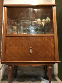 Franse vintage vitrinekast, theekast, kast.