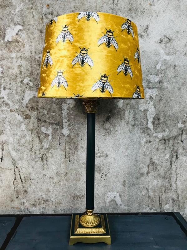 Vintage lamp met bijenkap velours.