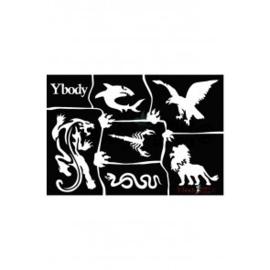 A5 stencil Wild animals Y body