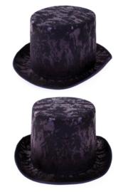 Hoge hoed antiek zwart grijs