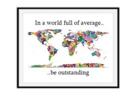 Wereldkaart in kleuren met tekst - Versie 1 poster