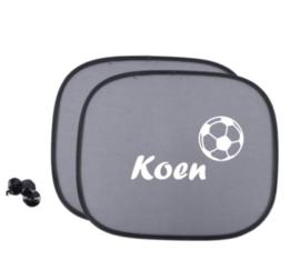 Zonnescherm met naam en voetbal - Autoaccessoire