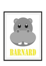 Nijlpaard poster met naam naar keuze