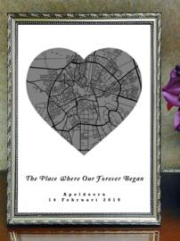 Plattegrond Valentijnsdag - Stad of dorp in hart
