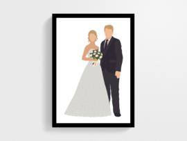 Bruidspaar in eigen samenstelling - Poster