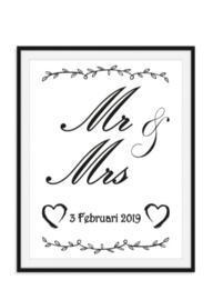 Mr en Mrs trouwposter trouwen - huwelijksgeschenk
