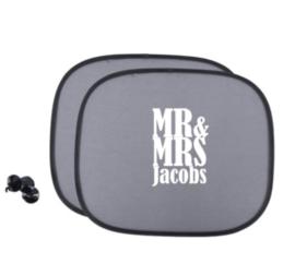 Zonnescherm Mr Mrs met achternaam - Autoaccessoire